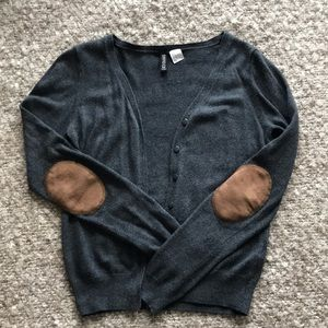 Gray cardigan with brown leather elbow patches